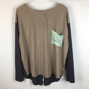 Anthro Dolan Boxy Colorblock Top Gray Tan XL